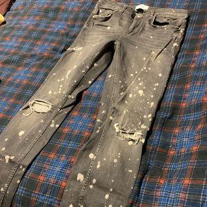 Zara distressed denim with splatter design